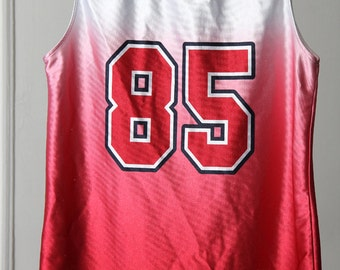 Shiny Red and White 90s Ombre Basketball Jersey