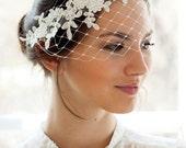 Bridal petite bandeau veil with floral lace for Chelsea