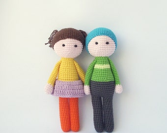 PDF Simple Doll Girl and Boy  Crochet Pattern - Crocheted Doll, Girl and Boy  DIY tutorial