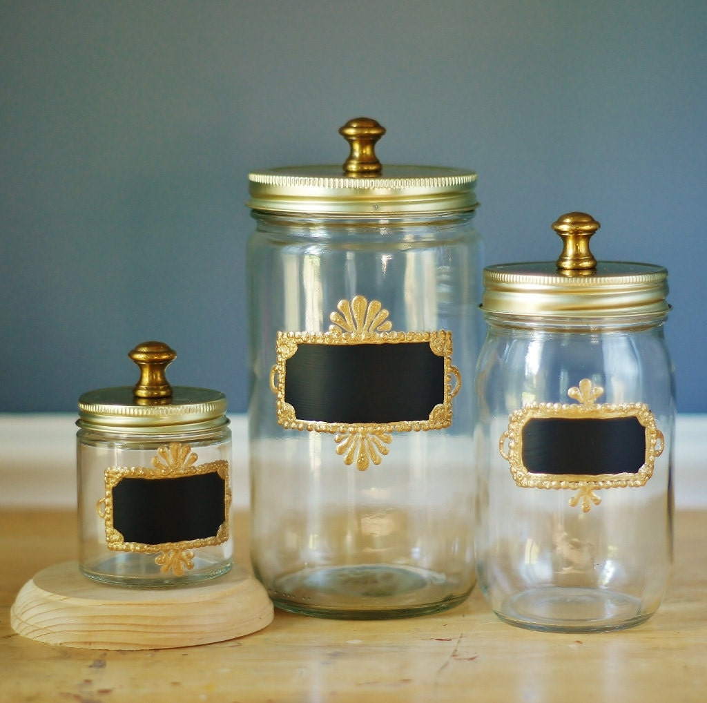 Set Of Three Mason Jar Storage Canisters For Kitchen By