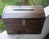 Large Dark Walnut Wooden Wedding Treasure Chest Card Box  with Card Slot