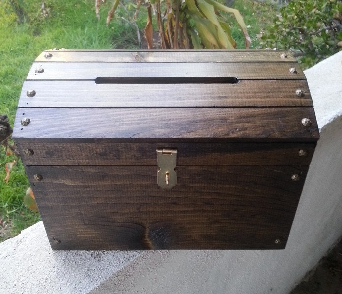 Large Dark Walnut Wooden Wedding Treasure Chest Card Box with – Wedding Treasure Chest Card Box