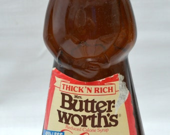 Vintage Mrs. Butterworth's Syrup Bottle - Metal Cap - Lite - Brown Bottle - Metal Cap