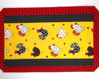 Chicken Table Runner - Red, Yellow, and Black