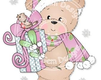 Digital (Digi) Bella with Mistletoe  Stamp. Makes Cute Christmas Cards. Teddy Bear