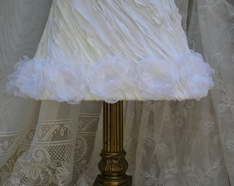 Shabby Chic Lampshade with Handmade Roses French Cottage Boudoir