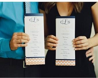 Custom Wedding Program, Tea Length with Chevron