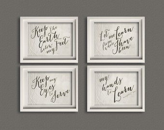 PRINT Set of Four 8x0 Mumford & Sons Lyric Art , Earth Below My Feet, save over 15%