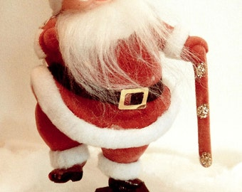 Large Vintage Plastic Flocked Glitter Santa on Pedestal Christmas Holiday Decoration