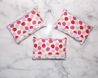Pink and Red Strawberry Tissue Holder with Ric Rac Trim - Set of 3