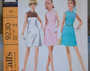 1960's McCall's One-piece dress pattern - Bust 38 - No. 9230