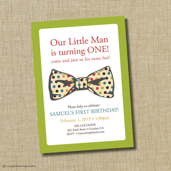 bow tie birthday invitation by brownpaperstudios