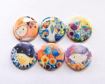 Bird Magnets, Nature Magnets, owl magnet, button magnet, Fridge Magnet, Kitchen Magnet, owl, bird, Lauren Alexander, stocking stuffer (3350)