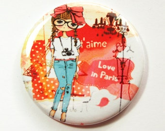 Mirror, Purse mirror, Pocket mirror, Love in Paris, gift for girlfriend, gift for friend, party favor, thank you gift, Kellys Magnet (3749)
