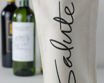 Wine Tote - Recycled Cotton Canvas  - Salute in Gray Ink