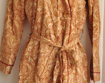 Light Beige Printed Knee length Cotton Kimono Robe with matching belt