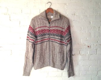 Vintage LL Bean Sweater, Women M, Nordic, Wool Blend
