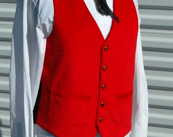 M Mens Steampunk Vest Red Corduroy
