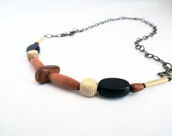Wooden necklace - tribal necklace - wood brass necklace - black and brown - wood bead necklace - wood bar necklace - tan necklace