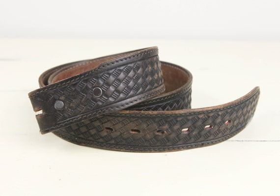 Vintage Leather Western Belt, tooled weave pattern, Made in USA (size 38)