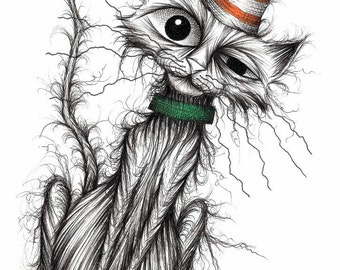 Stinker the cat Print download Thin scrawny scruffy kitty puss moggie who's very smelly with a stripey pointed comedy hat and green collar