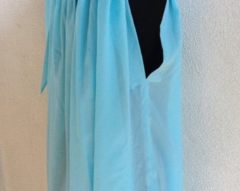 Vintage 1970's IRIS Lingere  sky blue chiffon polyester with scoop neck tie I. Magnin Co. Sz S