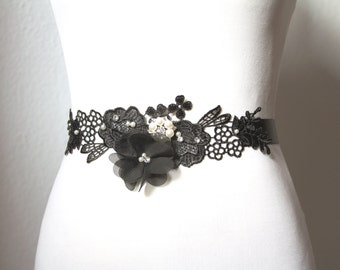Bridal Couture -  Black Sash Belt - Chiffon  Lace Flower Austrian Crystals Rhinestones - Wedding Dress Sash Belts