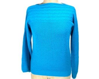 vintage 1980s blue boatneck sweater / Susan Ess / hipster / winter sweater / women's vintage sweater / size small