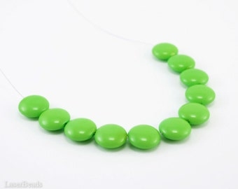 Grass Green Lentil Glass Beads 14mm (10) Opaque Pressed Czech Flat Round Large Disc Coated Bright