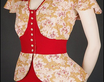ASIA BLOUSE japanese kimono fabric red crepe cherry blossoms size S (UK 10 12)