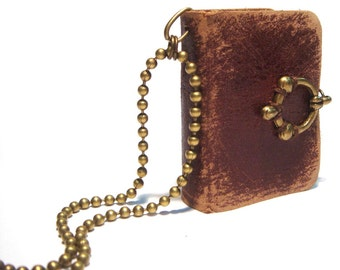 Mini Leather Book Pendant - ARTHUR - Vintage Style ChikUna Art - Old Leather - Bronze Decor - 4x3 cm
