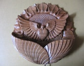 To be ordered: Wood carving, Wall hanging - night lamp Sunflower with a Dove, room decor, lighting, floral and bird motiff