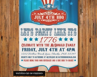 Party Like it's 1776 4th of July BBQ Party invitation -July 4th Invitation - Uncle Sam Fourth of July Invitation - Item FJ0003
