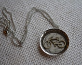 Bicycle on City Map - Resin Pendant Necklace