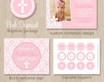 Pink Baptism Party Package - Pink Baptism Decor - Pink Christening Decor - Printable Baptism Party - Printable Christening Party - Girl