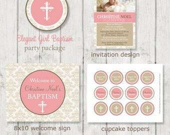 Elegant Girl Baptism Party Package - Christening Party - Baptism Party - Girl Baptism Party Decor - Printable Baptism Party