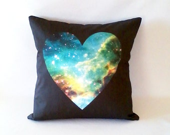 CLEARANCE: Galaxy Heart Pillow, Black  /  NASA Cosmos Outer Space Photo, Digital Cosmos Galaxy Fabric, Space Nebula Cushion on Fabric