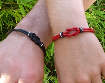 Matching Couple Bracelets Leather, His and Her Bracelet, Celtic Jewelry Couples Bracelets, Leather Bracelets, Unisex Love Knot Bracelets