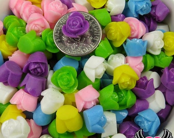 9 mm Resin Flower ROSE CABOCHONS Mixed Assortment, Small Flower Cabochons, Tiny Flower Cabochon