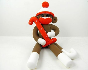 Boy Sock Monkey Theme First Birthday Party Cake Topper Clay