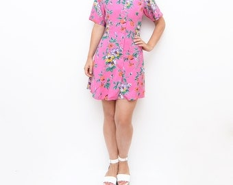 Vintage pink floral summer 90s mini dress