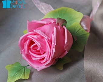 SAMPLE SALE rose boutonniere, wedding rose corsage, pink wedding, pink rose, mother of the bride corsage, wedding buttonhole