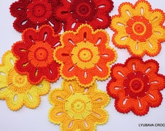 Crochet PATTERN Flower Coasters, Spring Summer Crochet Home Decor DIY Gifts, Instant Download PDF Pattern No.121 by Lyubava Crochet