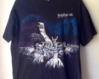Vintage Tshirt Black with Deer Scene//Muskallonge Lake// Deer Park Mi// Blue Purple Black// Waterfall// Nature// 90s// Size Large