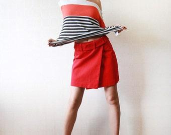 RALPH LAUREN red denim wrap mini skirt XS