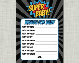 Superhero Baby Shower Wishes Game Activity DIY printable version-Instant Download
