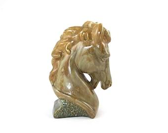 Vintage Horse Bust Statue / Molded Porcelain / Mid Century Modern Decor Accent