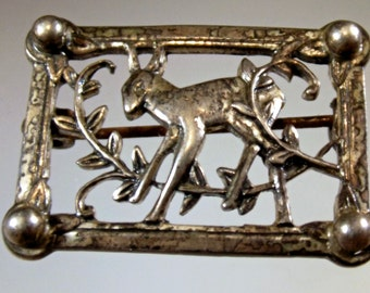 Brooch Pin Vintage Fawn Deer Sterling Hallmarked Intricate Delicate Detailed Fawn among Flora