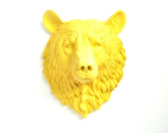 YELLOW Faux Taxidermy Large Bear Head Wall Hanging Wall Mount faux animal head decor faux taxidermie kids wall decor nursery office decor