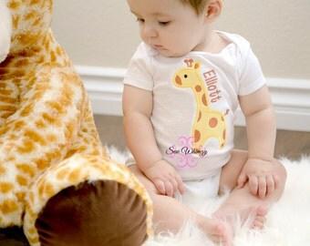 Giraffe shirt or bodysuit- Baby giraffe shirt or bodysuit- Birthday shirt